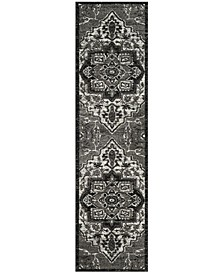 "Vintage Hamadan Light Grey and Grey 2'2"" x 8' Runner Area Rug"