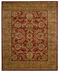 "Nourison Area Rug, Rajah Collection JA17 Isfahan Burgundy 7'9"" x 9'9"""