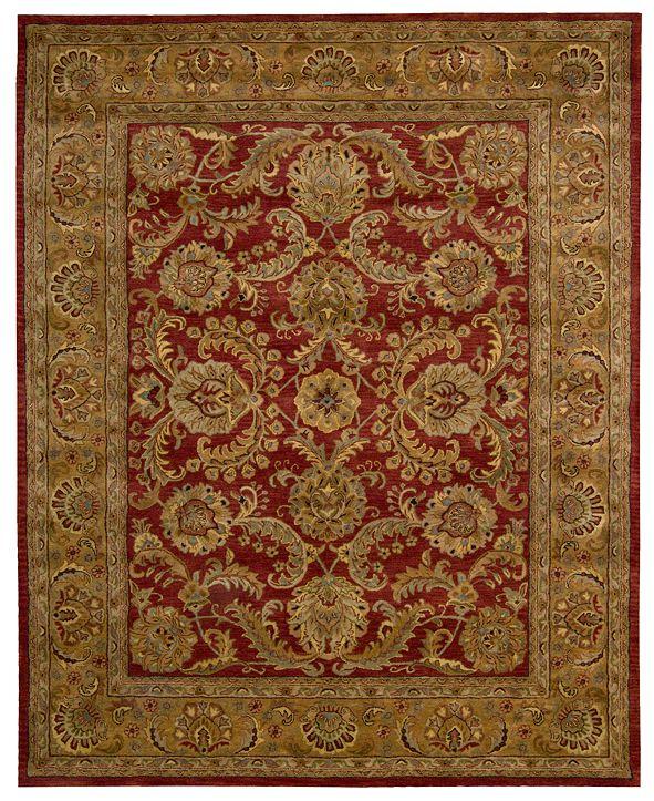 "Nourison Rajah JA17 Isfahan Burgundy 5'6"" x 8'6"" Area Rug"