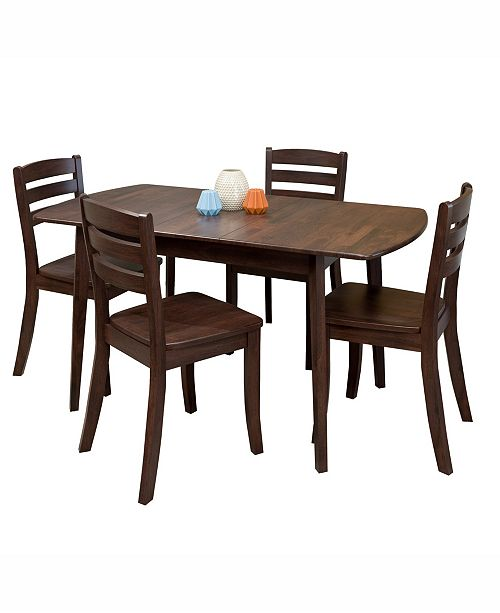 Corliving Distribution CorLiving 5pc Extendable Stained Solid Wood Dining Set