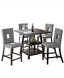 5pc Counter Height Dining Set, with Fabric Chairs