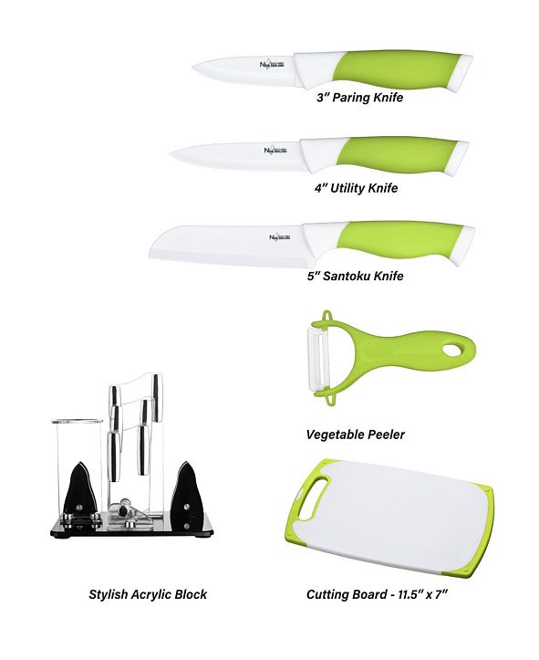 New England Cutlery 6 Piece Ceramic Knife Board