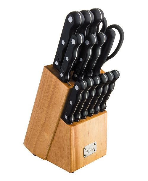 New England Cutlery 15 Piece Knife Set with Wooden Block