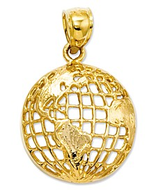 14k Gold Charm, Polished Globe Charm