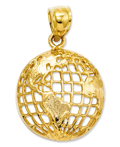 14k gold charm polished globe charm jewelry watches for What is gold polished jewelry