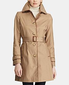 Lauren Ralph Lauren Faux-Leather-Trim Belted Trench Coat