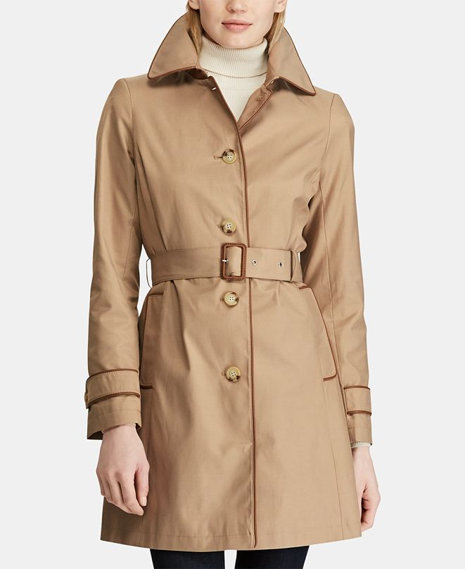 Lauren Ralph Lauren Petite Faux-Leather-Trim Trench Coat