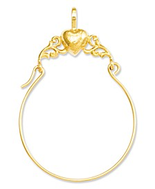 14k Gold Charm Holder, Polished Heart Charm Holder