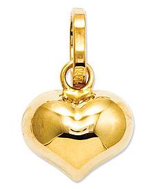 14k Gold Charm, Puffed Heart Charm
