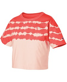Cotton Streak-Dyed Cropped T-Shirt