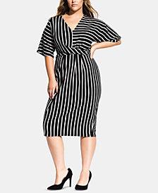 City Chic Trendy Plus Size Striped Midi Dress