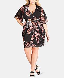 City Chic Trendy Plus Size Kimono-Sleeve Dress