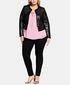City Chic Trendy Plus Size Embroidered Faux-Leather Jacket