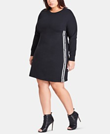 City Chic Trendy Plus Size Studded Striped Tunic
