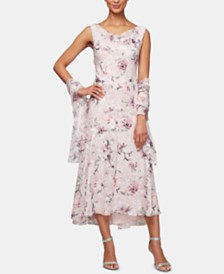 Alex Evenings Petite Floral Cowlneck Dress & Shawl