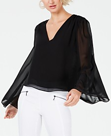 Bar III Flared Chiffon-Sleeve Top, Created for Macy's