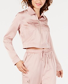 Material Girl Juniors' Cargo Cropped Jacket, Created for Macy's
