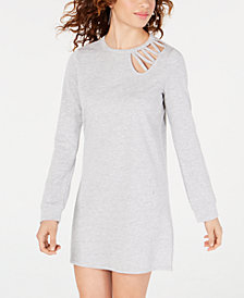 Material Girl Juniors' Lace-Up Sweatshirt Dress, Created for Macy's