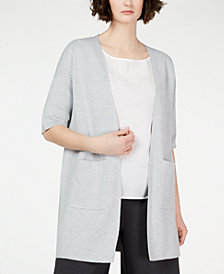 Eileen Fisher Organic Open-Front Elbow-Sleeve Cardigan