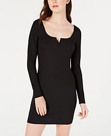 Material Girl Juniors' Notched Bodycon Dress, Created for Macy's