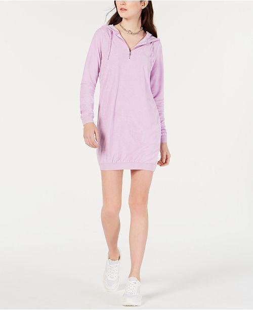 Material Girl Juniors' Zip Hoodie Dress, Created for Macy's