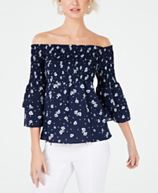 Bar III Off-The-Shoulder Smocked Top, Created for Macy's