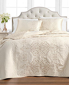 Martha Stewart Collection Column Embroidery King Bedspread, Created for Macy's