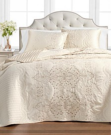 Martha Stewart Collection Column Embroidery Bedspread and Sham Collection, Created for Macy's