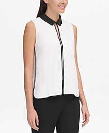 Sleeveless Collared Top