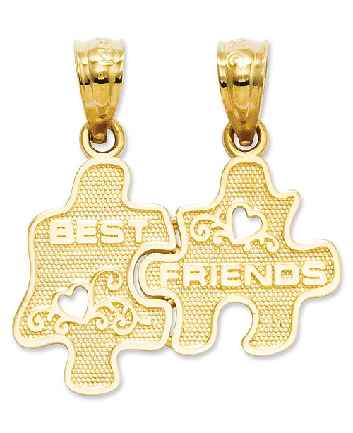 Macy's 14k Gold Charm, Best Friends Puzzle Break-Apart Charm