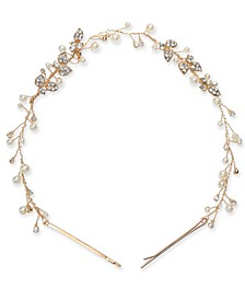 INC Gold-Tone Crystal & Imitation Pearl Headband, Created for Macy's