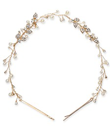 I.N.C. Gold-Tone Crystal & Imitation Pearl Headband, Created for Macy's
