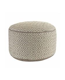 Diamond Pattern Round Hand Woven Ottoman Pouf