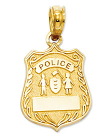 14k Gold Charm, Police Badge Charm