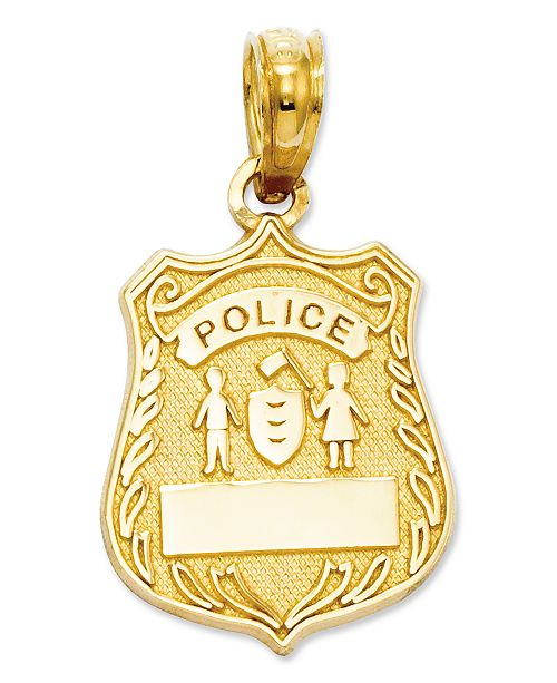 Macys 14k gold charm police badge charm jewelry watches macys main image aloadofball Image collections