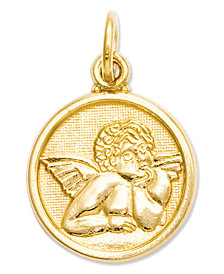 14K Gold Charm, Polished Angel Charm