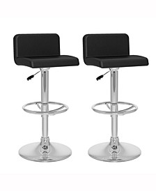 Low Back Adjustable Barstool in Leatherette, Set of 2