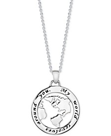 "My World Disc 18"" Pendant Necklace in Sterling Silver"