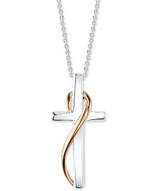 Unwritten Two-Tone Cross Ribbon Pendant Necklace in Sterling Silver & Rose Gold-Flash, 18""