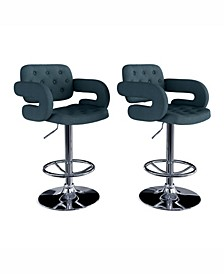 Adjustable Tufted Fabric Barstool with Armrests, Set of 2