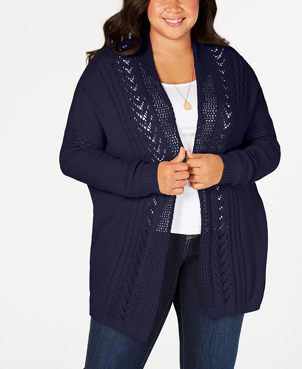One A Plus Size Open-Front Mixed-Stitch Knit Cardigan