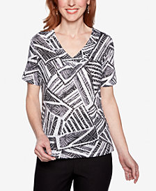 Alfred Dunner Classic Printed Studded Top