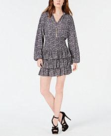 Michael Kors Springtime Blouson Chain Top &  Smocked Tiered Skirt