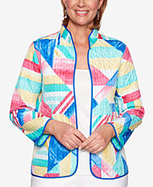 Alfred Dunner Classic Geo-Print Quilted Jacket