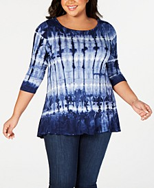 Black Label Plus Size Tie-Dyed Embellished Ruffle Top