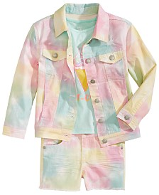 Epic Threads Toddler Girls Tie Dyed Jacket, Shorts & Graphic-Print T-Shirt, Created for Macy's
