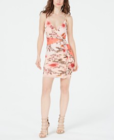 GUESS Skylar Ruffled-Trim Floral-Print Dress