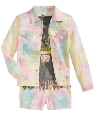 Big Girls Tie Dyed Denim Jacket, Created for Macy's