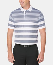 PGA TOUR Men's Athletic-Fit Moisture-Wicking Engineered Rugby Stripe Polo