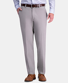 Haggar Men's Premium Comfort Khaki Classic-Fit 2-Way Stretch Wrinkle Resistant Flat Front Stretch Casual Pants
